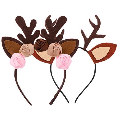 NUOBESTY 2 diademas de cuernos de reno con diseo floral de alce para el pelo, ideal para Navidad, cosplay, Halloween, regalo para adolescentes, nias, mujeres y nios