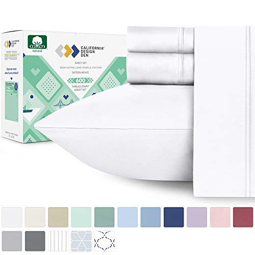 600 Thread Count Best Bed Sheets 100% Cotton Sheets Set - Pure White Long-staple Cotton Queen Sheet For Bed, Fits Mattress Upto 18'' Deep Pocket, Soft & Silky Sateen Weave Sheets and Pillowcases