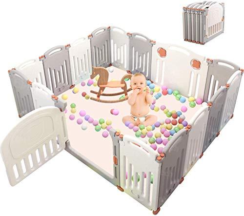 Birtech Laufgitter Laufstall Schutzgitter für Baby Plastikzaun 16 Paneele mit Tür geeignet für Kinder von 10 Monaten bis 6 Jahren cremefarbe