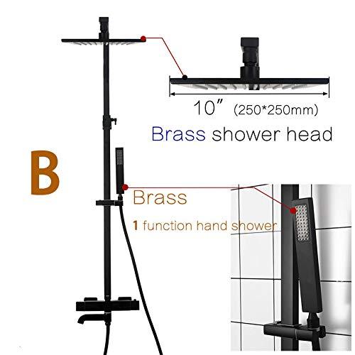 SISHUINIANHUA Messing Mattschwarzes Quadrat Regendusche Set Badezimmer Thermostat Dusche Wasserhahn Wandmontage Kalt- Und Warmwassermischer Dusche,10inch