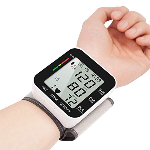 Digital Wrist Blood Pressure Monitors, Fully Automatic Accurate Digital Wrist BP Machine with Voice Broadcast, Automatic Accurate 2x99 Reading Memory for Home Use Large LCD Display Blood Monitors Pressure