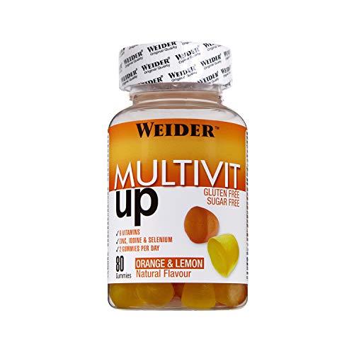 Weider Multivit Up 80 gummies. Sabor naranja y limón. Sin azúcares y sin gluten. Gominolas de vitaminas y minerales
