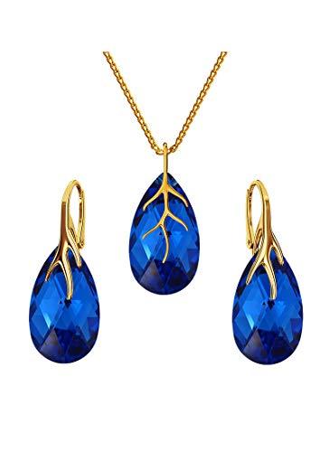 * Beforya Paris* * * * * * * * * argento 925 placcato oro 24 K – Parure * * * gioielli con cristalli Swarovski Elements – orecchini e collana con confezione regalo BAP39