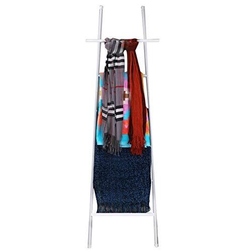6 Niveaus Deken Ladder Zwart Metaal Staal, Gratis Staande Bad Handdoek Bar Opslag Ladder Geen Boren voor Handdoek Quilt, Dekens, Tijdschriften, Kranten