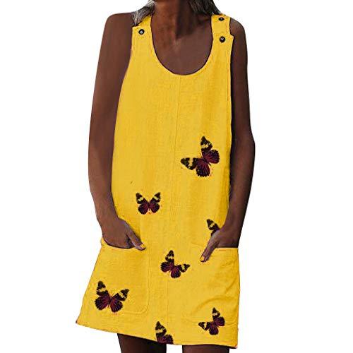 Fashion Bohemian Tasten Strapkleid Elegant ärmellose Schmetterling 3D-Druck Kleider Wunderschön Column Mini Kleid Sexy Wickelkleid Baumwolle und Leinen Strandkleid Slim Fit Bleistiftkleid Sommer Rock