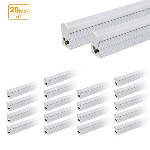 LED T5 Linkable Integrated Tube Light 4ft 19W 1800lm 4100K T5 LED Tube Light Fixture Perfect for Home Garage Work Shop Basement Storage Room 20 Pack Accessories Not Included