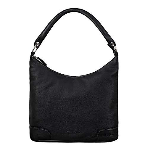 STILORD 'Tessa' Handtasche Damen Leder Groß Shopper Ledertasche Hobo Tasche Elegante Vintage Schultertasche Tote Bag aus Echtem Leder, Farbe:schwarz