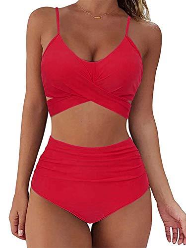 Minetom Mujer 2Pcs Ropa De Baño Halter Cuello V Bañador Push-Up Bra Bikini Sets Traje De Baño Atractivo Color De Empalme Verano Playa B Rojo 42