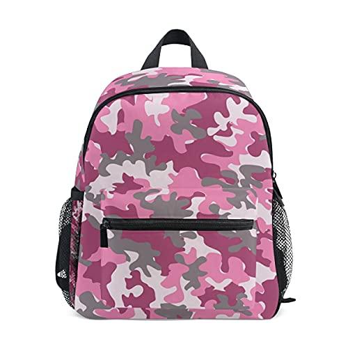 ISAOA - Mochila para niñas y niñas, diseño de camuflaje rosa