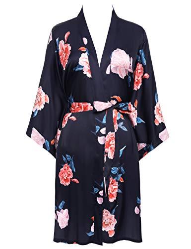 BABEYOND Damen Morgenmantel Kurz Blumen GedruKt Bademantel Satin Kimono Kleid Damen Sommer Robe Leicht Schlafmantel Sexy Nachtwäsche (Stil2 - Navyblau)