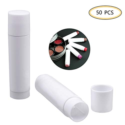 OZAUR 50 Pack Leer Lippenstift leerer Container, Leere Kunststoff Balm Tubes 5g Lippen Balm Tubes Container für DIY Hausgemachte Lippenbalsams Nachfüllbar mit Kappe (Weiß)