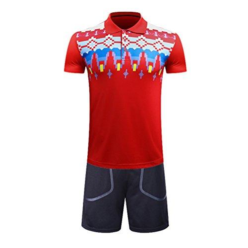 Kuncg - Badminton-Bekleidungssets für Herren in Rot(herren), Größe L