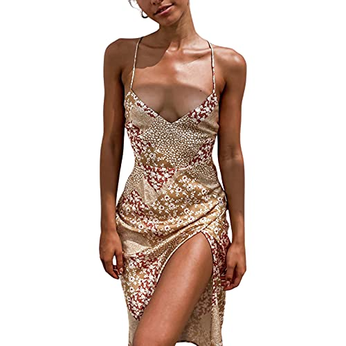 Vrouwen Sexy Jurk Bloemen V-hals Mouwloos Mid Jurk Zomer Jurk - goud - L