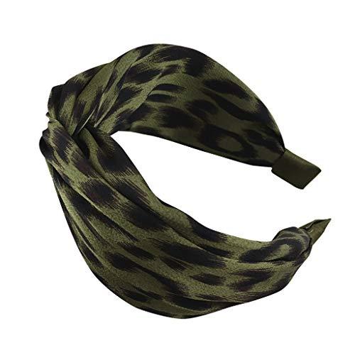 COZOCO 2019 Einfaches und nützliches Stirnband Damen Leopard Fashion Casual Stirnband Bogen Stirnband Stirnband Haargummi Grün Freie Größe