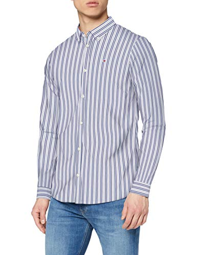 Tommy Jeans Herren TJM Stripe Stretch Poplin Shirt Hemd, Blau (Twilight Navy/Multi), M