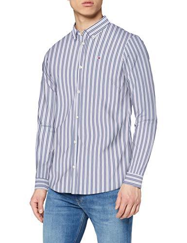 Tommy Hilfiger TJM Stripe Stretch Poplin Shirt Camisa, Azul (Twilight Navy/Multi), XX-Large para Hombre