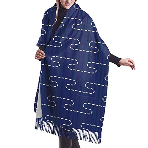 Fransenschal für den Winter,weich Langer Schal schal für Frauen,Kaschmir-ähnlich,Japanisches Quilling.Stilisierte Nebelverzierung.Abstrakt Damen Umschlagtuch Warm Schal für Weihnachten,Thanksgiving