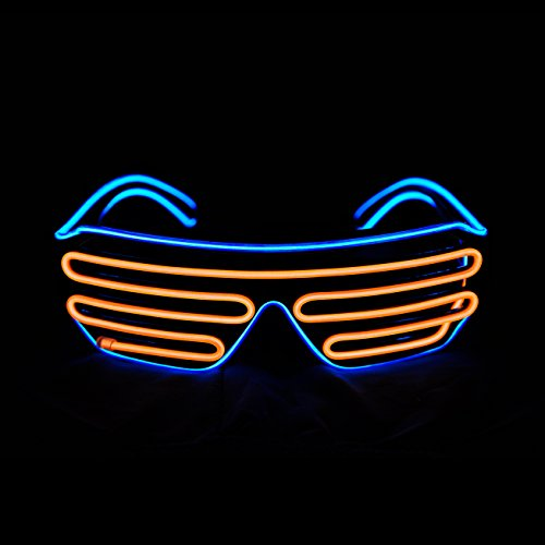 PINFOX Shutter El Wire Neon Rave Glasses Flashing LED Sunglasses Light Up Costumes for 80s, EDM, Party RB03 (Blue + Orange)