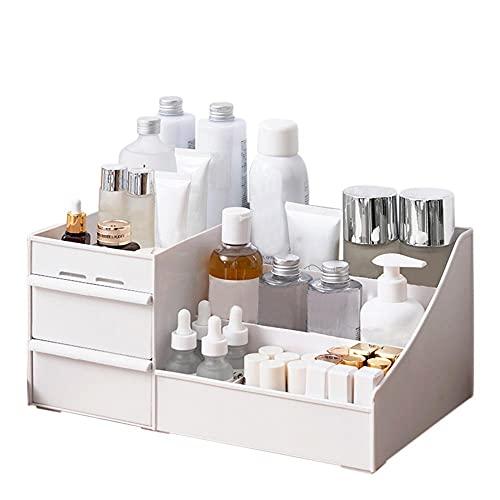 Caja de almacenamiento de cosméticos abierta para cosméticos, organizador de cosméticos compacto para encimera o armario, de plástico resistente para mantener el espacio organizado y ordenado.