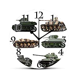 BCWAYGOD War Home Decor Silent Wall Clock Second World War Armoured Tanks Camouflage Military Power Artillery Weapon Desk Clock Round Unique Decorative for Home Bedroom Office 10in