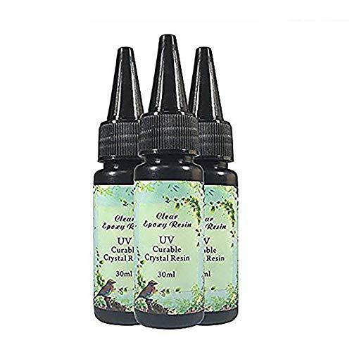 Frenshion 3 Pezzi 30ML di Resina Epossidica di Cristallo Colla UV Strumenti di Arte del Chiodo per Fai Da Te Casa Professionale Artigianato Gioielli Orecchini Collana Braccialetto Accessori nail art
