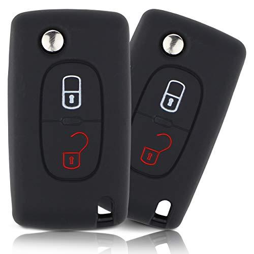 ASARAH Cover chiavi auto PREMIUM in silicone compatibile con Citroen, Copertura protettiva per chiavi dell'auto, Copertina per tipo di chiave 2BKB - Nero