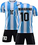 W Weiluogao Maradona Camiseta Argentina, Camiseta de Maradona Argentina 86 Retro – Selección de Fútbol de 1986, Jersey De FúTbol para Hombre, Maradonas No.10 (XXL)