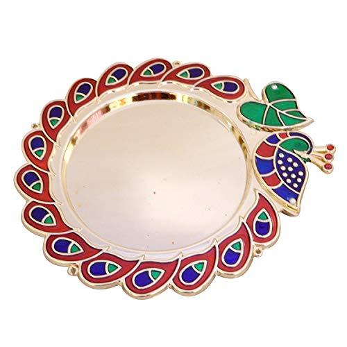Designer pauw en blad design Pooja Thal Rakhi plaat verlovingsring plaat Tilak Thali met 2 verbonden kumkum houder