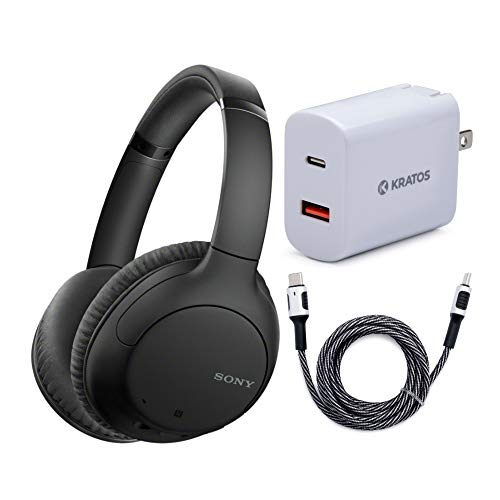 Sony WHCH710N Wireless Bluetooth Noise Canceling Over-The-Ear Headphones (Black) with Kratos 18W PD Two-Port Power Adapter and Kratos 6-Feet Nylon Braided USB-C Cable Bundle (3 Items)