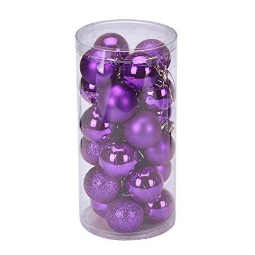 Fulltime® Décorations de Noël, 24Pcs/Pack 40 mm Noël Tree Ball Boules accrochage décoration fête Ornement (Violet)