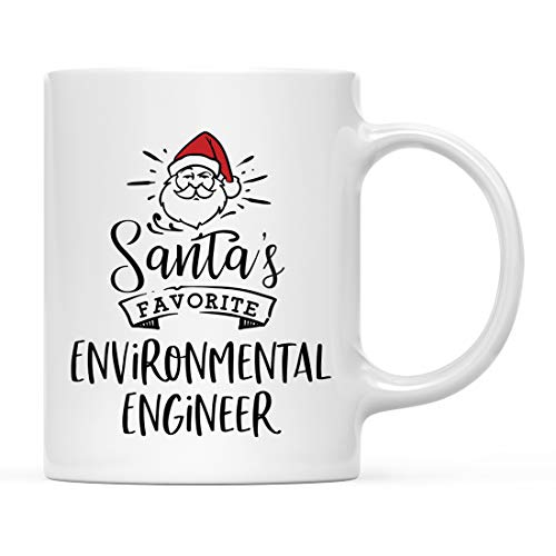 Andaz Press Santa Claus 11oz. Ceramic Coffee Mug Christmas Gag Gift, Santa's Favorite Environmental Engineer, 1-Pack, X-Mas White Elephant Gift Ideas Coworker Him Her, Includes Gift Box
