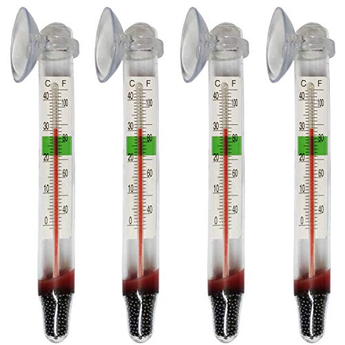 Lomodo 4 Pack Floating Thermometer Aquarium Glass Temperature Gauge with Suction Cup for Fish Tank