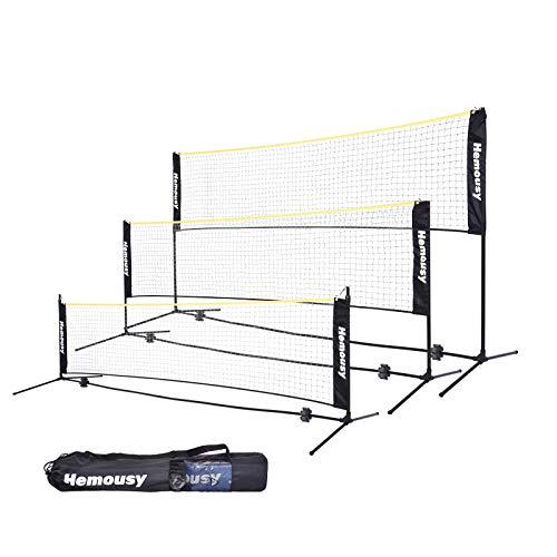 wowspeed Badmintonnetz,Tennisnetz,3-5 m tragbares All-in-One-Kombinationsnetz mit 3 höhenverstellbaren Volleyballnetzen für Kinder und Erwachsene,Zusammenklappbarer Ständer für draußen, Garten,Strand