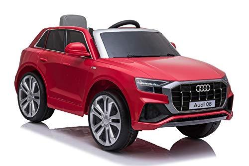 RIRICAR Elektrische Spielzeug Auto Q8, Rot, original lizenziert, Ledersitz, öffnende Türen, 2 x 25 W Motor, 12 V Batterie, 2,4 GHz Fernbedienung, weiche Eva-Räder, LED-Leuchten, sanfter Start