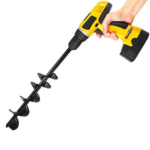 """Garden Bulb Planter Auger Drill Bit Tool Post Hole Digger for 3/8"""" Hex Drive Post, Rapid Plant Umbrella Hand Cultivator for Digging Earth Bedding Tulips, Weeds Roots (7.6 cm* 61 cm)"""