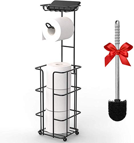 Toilet Paper Roll Holder with Shelf,Hokyzam Stainless Steel Polished Chrome Modern Roll Tissue Holder,Self Adhesive and Wall Mounted,Bathroom Kitchen Accessories