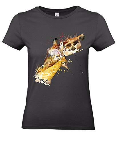 Smilo & Bron Damen T-Shirt mit Motiv Giraffen Bedruckt Schwarz Used Black M