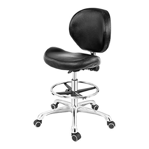 Grace & Grace Rolling Drafting Chair Height Adjustable Stool with Backrest and Footrest for Computer,Studio,Workshop,Classroom, Lab, Counter, Home Office, Work from Home Chair, Home Desk Chair (Black)
