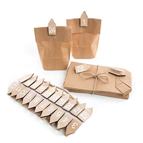 Kit pour fabriquer son propre calendrier de l'Avent, avec pinces en forme de maison en bois blanc naturel 4 cm (avec chiffres 1 à 24) + 25 petits sacs en papier kraft marron 9 x 15 x 3,5 cm