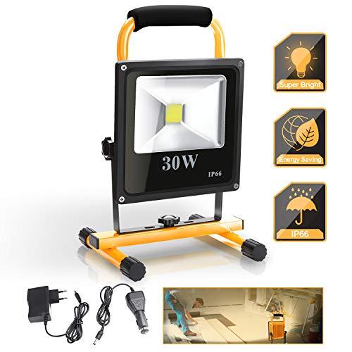 wolketon 30W Foco Trabajo LED, 2400LM 3000K Blanco Cálido, Foco LED Portátil, Impermeable IP66, Proyector LED obras de construcción taller patio garaje