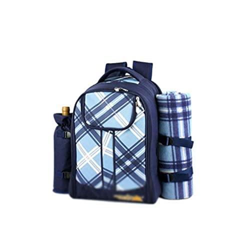 Picknick-Matte, Wasserdichter Picknick-Rucksack für 4 Personen, Picknickkorb mit vollem Besteckset, Fleece-Decke, Platten für Picknickzeitfarbe: Blau (Color : Dark Blue)