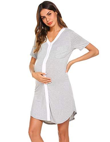 Ekouaer Womens Nursing Dress for Breastfeeding Maternity Nightgown for Hospital, Grey, Medium