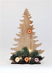 Árbol de navidad de la madera, con la altura de la decoración de la bola y de la iluminación del LED del NUEVO árbol del cristiano del árbol de navidad de 39 cm