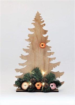 Rudolphs Schatzkiste Weihnachtsbaum aus Holz, mit Kugeldekoration und LED-Beleuchtung Höhe 39 cm NEU Tannenbaum Christbaum