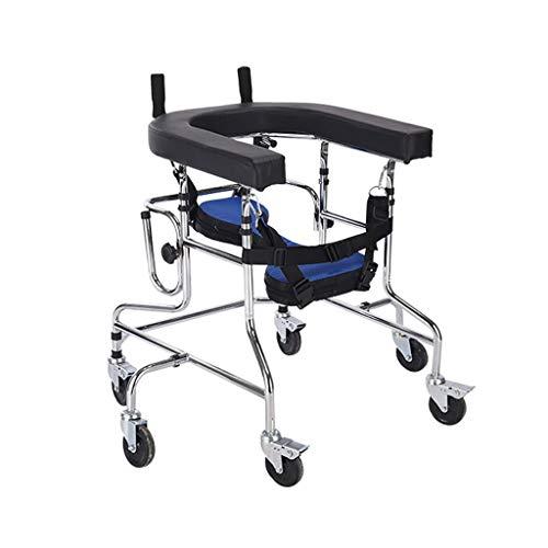 LHY-Andador Los niños se colocan bipedestador Soporte Walk/Caminata Ayuda/Walker/Soporte del Marco con el Dispositivo de Rehabilitación de Ruedas Asiento discapacitados Skid Soporte