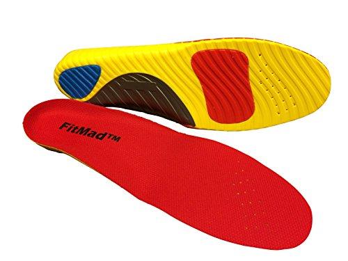 Plantilla para deportes FitMad® – Avanzada ortopédica apoyo arco y talón – absorción de impactos plantillas longitud total.