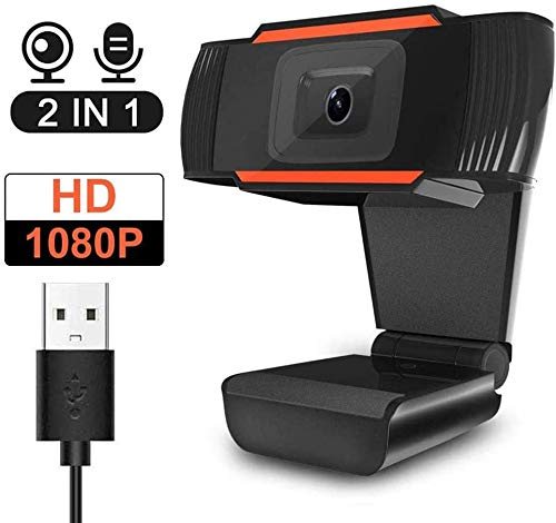 Webcam with Microphone,1080P HD Webcam Desktop or Laptop, Streaming Webcam for Computer Widescreen Video Calling and Recording, USB Web Camera Built-in Mic, Flexible Rotatable Clip