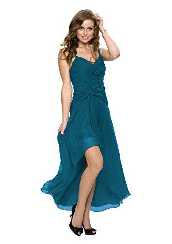 Astrapahl Damen Cocktail Kleid mit schönen Raffungen, Knielang, Einfarbig, Gr. 34, Türkis