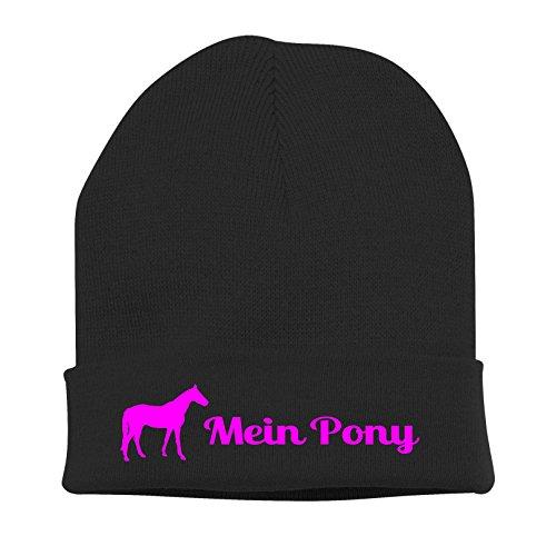 Siviwonder Strickmütze Pferde - Mein Pony Deutsches Reitpony reiten - Stickerei Pferd Winter Mütze Wintermütze Beanie Mütze schwarz-neonpink