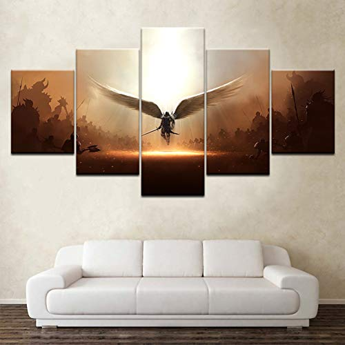 WFUBY Five Paintings The Two Steps from Hell Archangel Wallpapers Modern Poster Art Canvas Painting for Living Room Home Decor(No Frame)-40x60x2 40x80x2 40x100cm